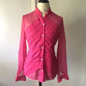 Adam Lippes Sheer Pink Sheer Button Down Silk